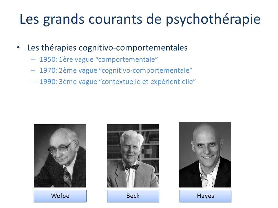 """Les grands courants de psychothérapie Les thérapies cognitivo-comportementales – 1950: 1ère vague """"comportementale"""" – 1970: 2ème vague """"cognitivo-comp"""