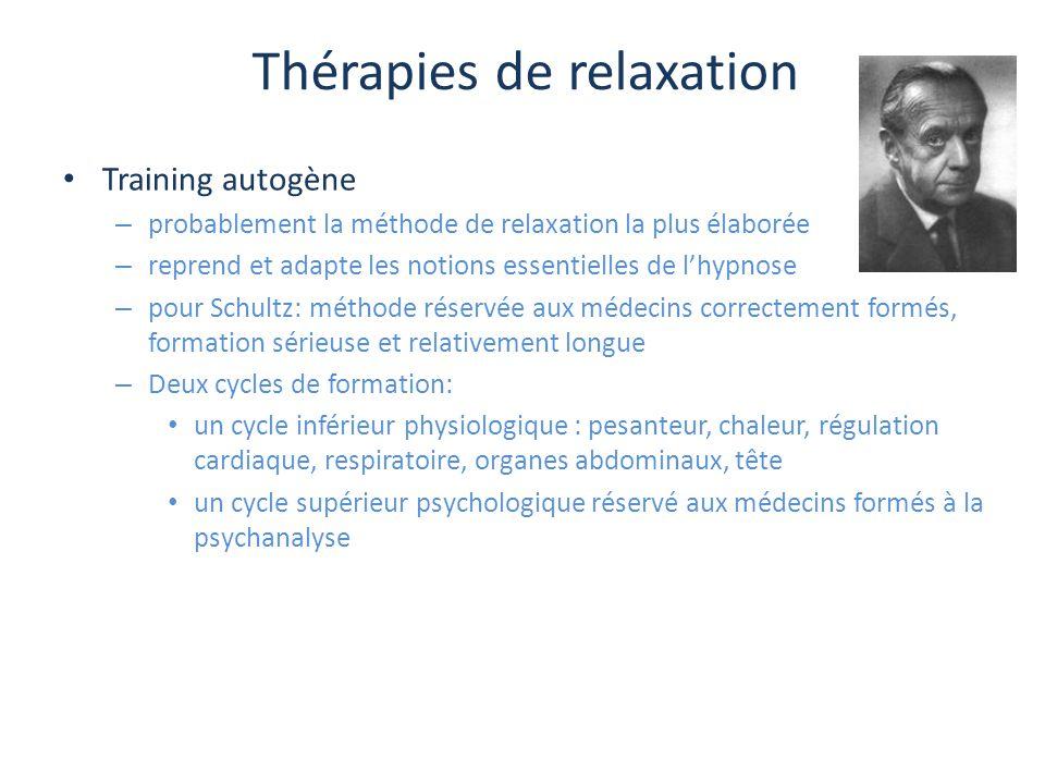 Thérapies de relaxation Training autogène – probablement la méthode de relaxation la plus élaborée – reprend et adapte les notions essentielles de l'h