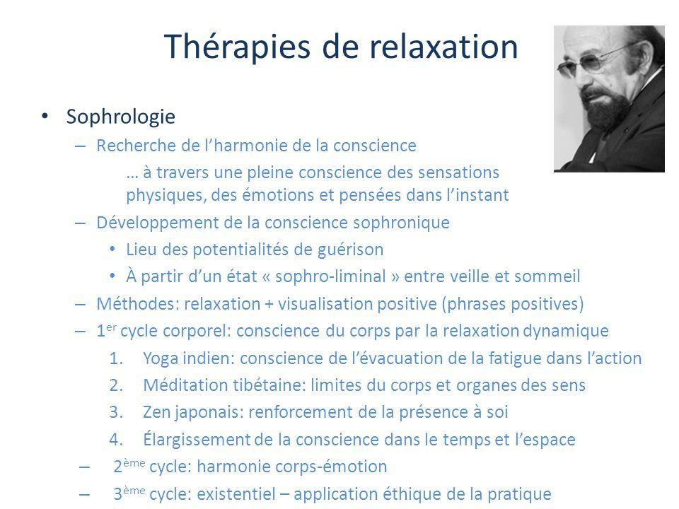 Thérapies de relaxation Sophrologie – Recherche de l'harmonie de la conscience … à travers une pleine conscience des sensations physiques, des émotion