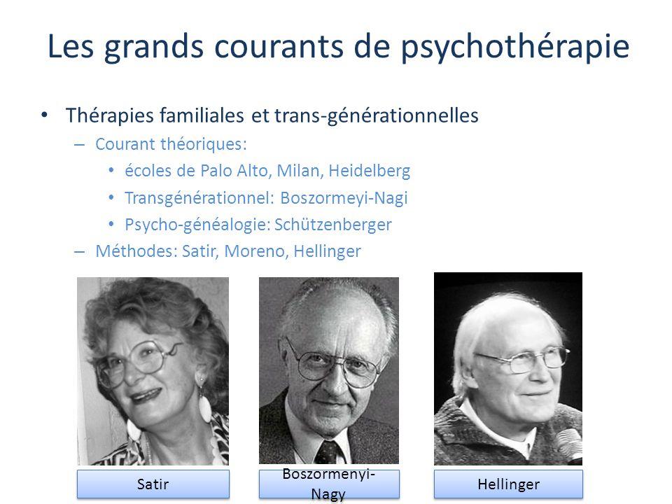 Les grands courants de psychothérapie Thérapies familiales et trans-générationnelles – Courant théoriques: écoles de Palo Alto, Milan, Heidelberg Tran