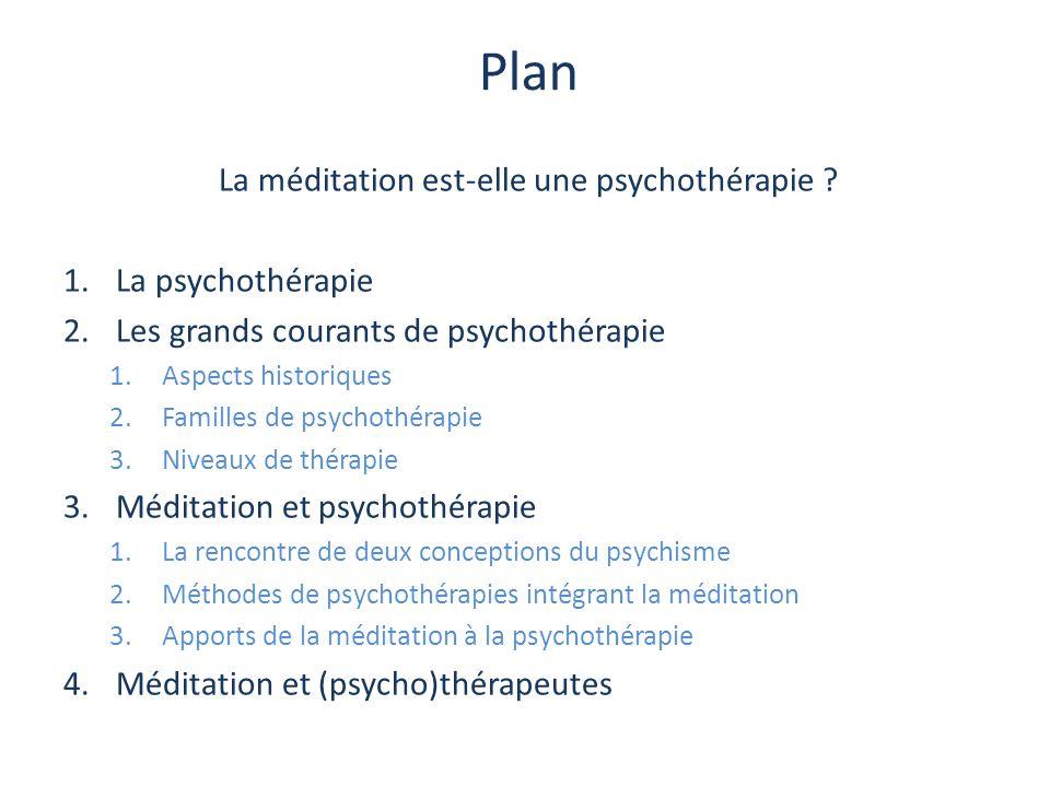 Plan La méditation est-elle une psychothérapie ? 1.La psychothérapie 2.Les grands courants de psychothérapie 1.Aspects historiques 2.Familles de psych