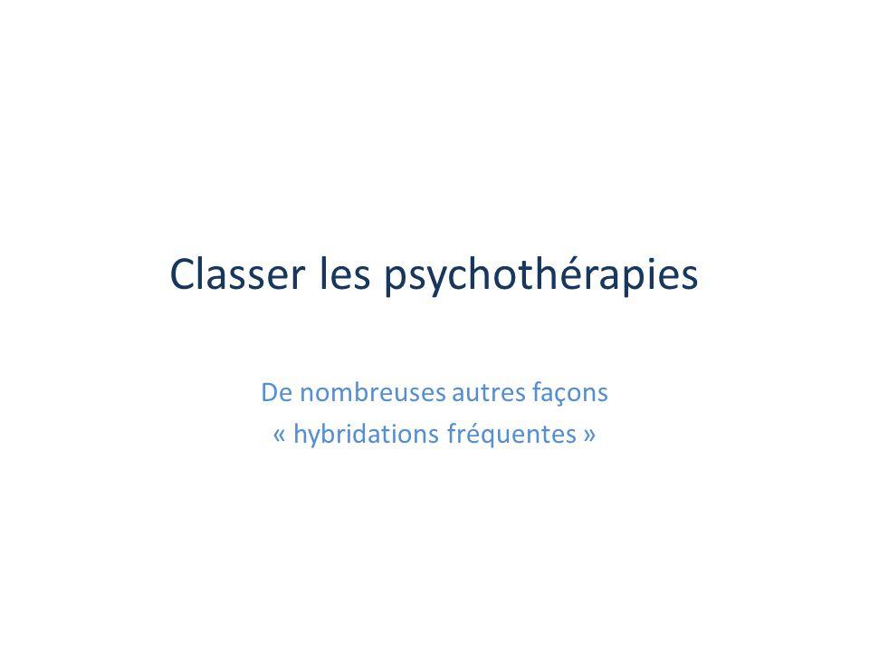 Classer les psychothérapies De nombreuses autres façons « hybridations fréquentes »