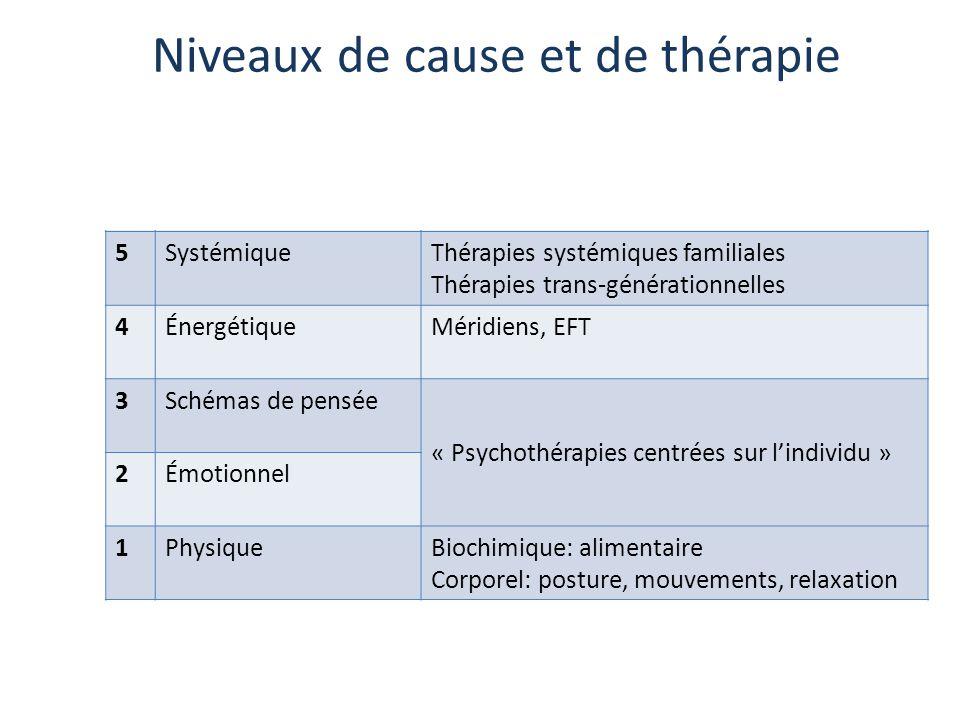 Niveaux de cause et de thérapie 6SpirituelThérapies existentielles 5SystémiqueThérapies systémiques familiales Thérapies trans-générationnelles 4Énerg