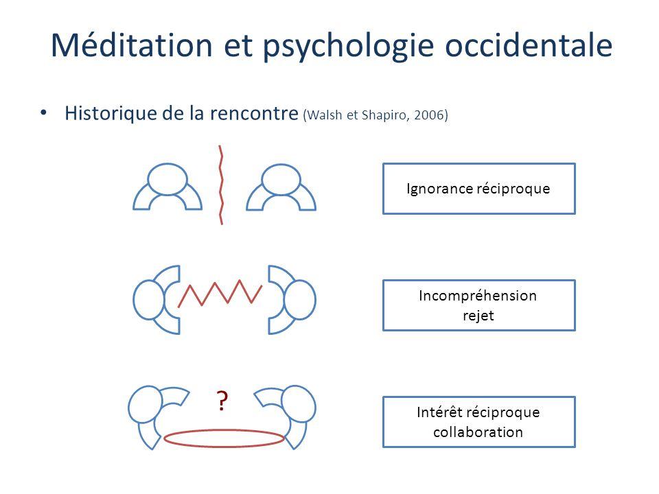 Méditation et psychologie occidentale Historique de la rencontre (Walsh et Shapiro, 2006) ? Ignorance réciproque Incompréhension rejet Intérêt récipro