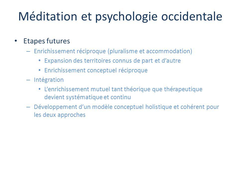 Méditation et psychologie occidentale Etapes futures – Enrichissement réciproque (pluralisme et accommodation) Expansion des territoires connus de par