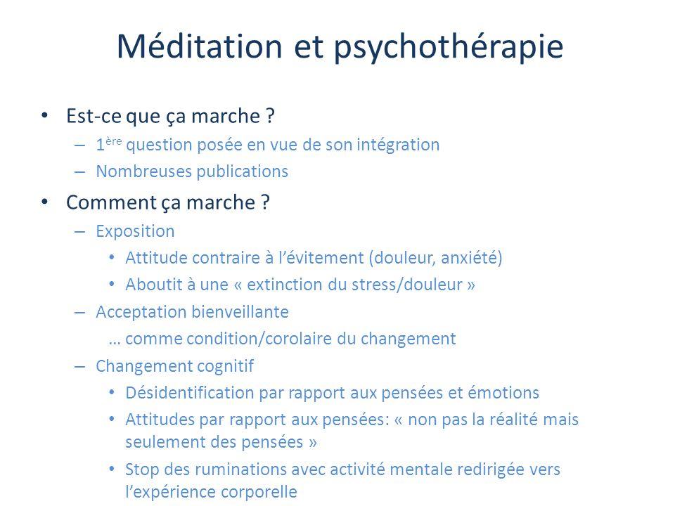 Méditation et psychothérapie Est-ce que ça marche ? – 1 ère question posée en vue de son intégration – Nombreuses publications Comment ça marche ? – E