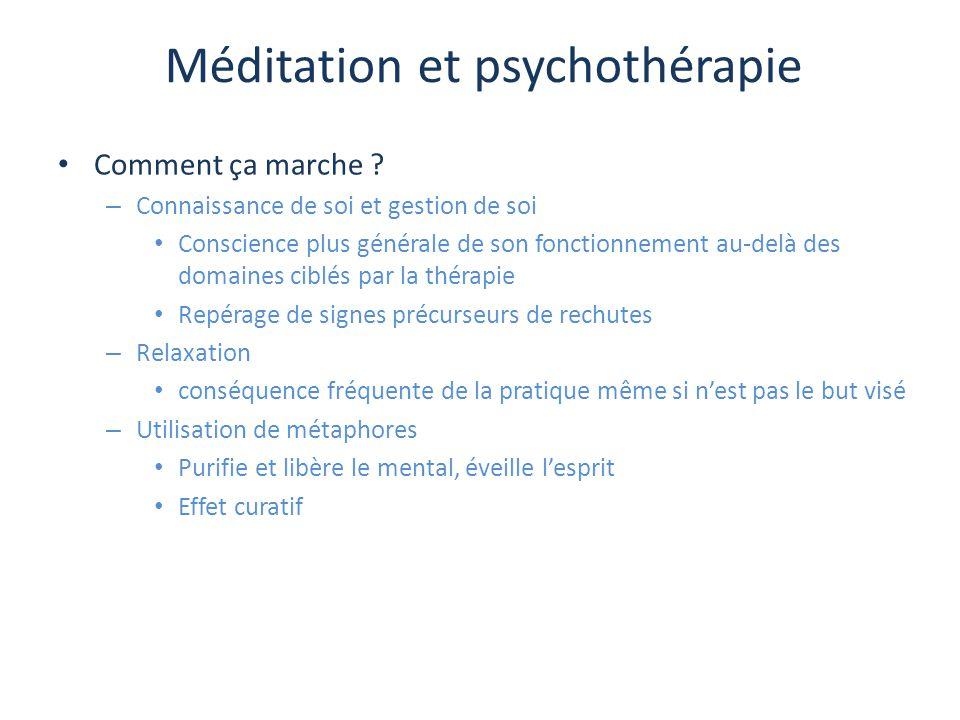 Méditation et psychothérapie Comment ça marche ? – Connaissance de soi et gestion de soi Conscience plus générale de son fonctionnement au-delà des do
