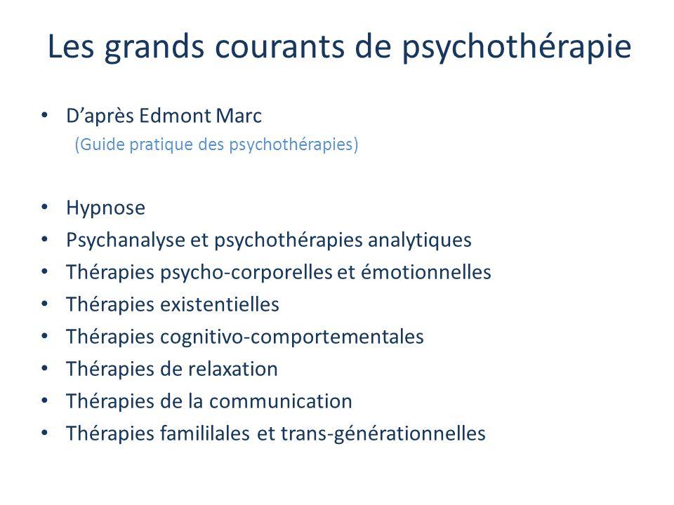 Les grands courants de psychothérapie D'après Edmont Marc (Guide pratique des psychothérapies) Hypnose Psychanalyse et psychothérapies analytiques Thé