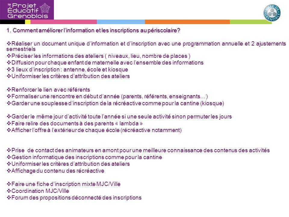 1. Comment améliorer l'information et les inscriptions au périscolaire.