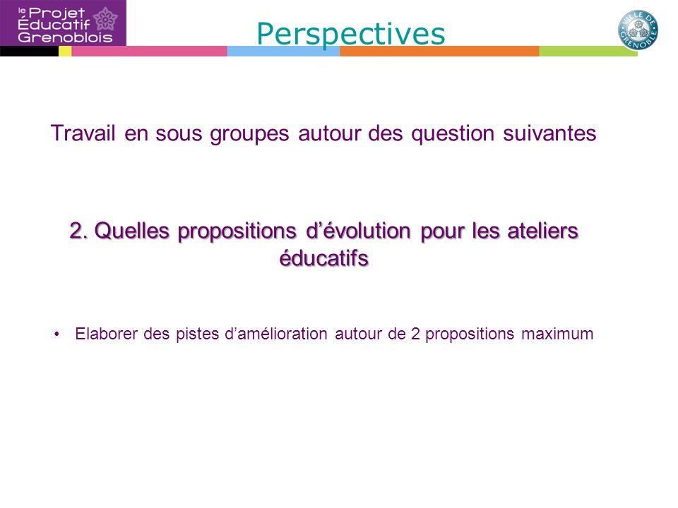 Perspectives Travail en sous groupes autour des question suivantes 2.
