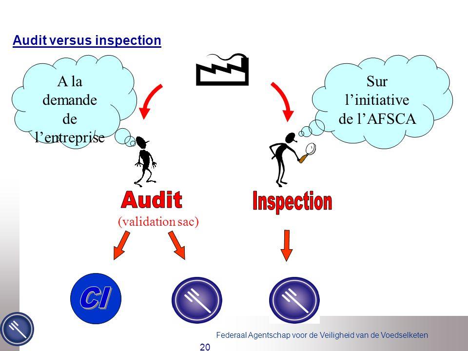 Federaal Agentschap voor de Veiligheid van de Voedselketen 20 Audit versus inspection (validation sac) A la demande de l'entreprise Sur l'initiative de l'AFSCA