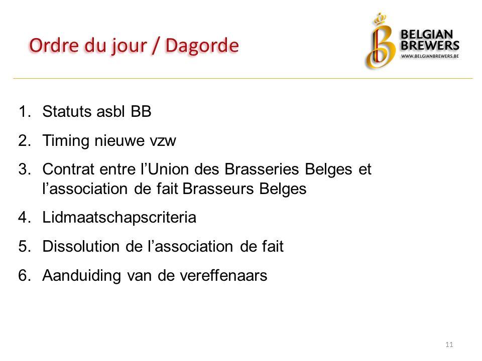 Ordre du jour / Dagorde 11 1.Statuts asbl BB 2.Timing nieuwe vzw 3.Contrat entre l'Union des Brasseries Belges et l'association de fait Brasseurs Belges 4.Lidmaatschapscriteria 5.Dissolution de l'association de fait 6.Aanduiding van de vereffenaars