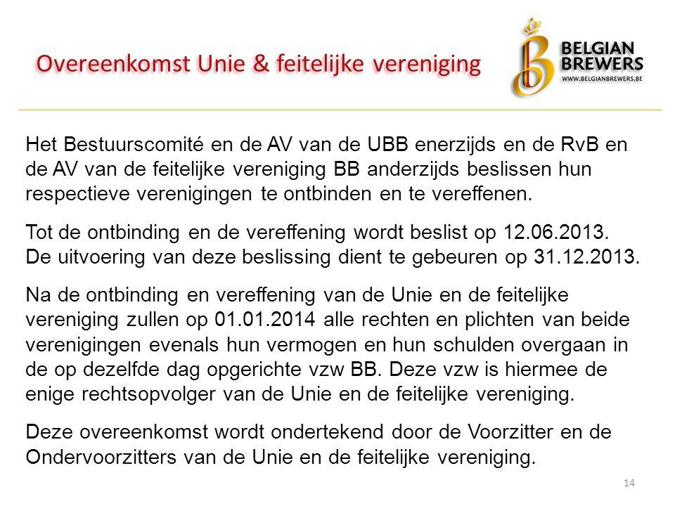 Overeenkomst Unie & feitelijke vereniging 14 Het Bestuurscomité en de AV van de UBB enerzijds en de RvB en de AV van de feitelijke vereniging BB ander