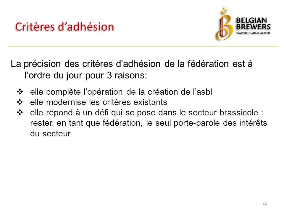 Critères d'adhésion 15 La précision des critères d'adhésion de la fédération est à l'ordre du jour pour 3 raisons:  elle complète l'opération de la c