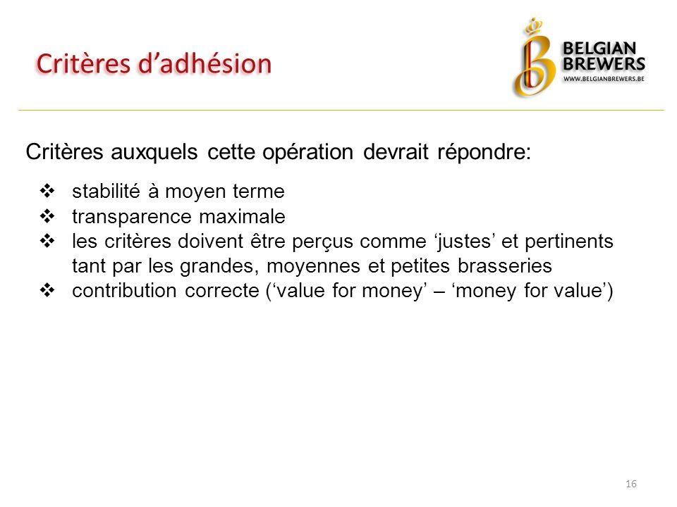 Critères d'adhésion 16 Critères auxquels cette opération devrait répondre:  stabilité à moyen terme  transparence maximale  les critères doivent être perçus comme 'justes' et pertinents tant par les grandes, moyennes et petites brasseries  contribution correcte ('value for money' – 'money for value')