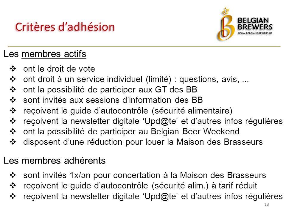 Critères d'adhésion 18 Les membres actifs  ont le droit de vote  ont droit à un service individuel (limité) : questions, avis,...  ont la possibili