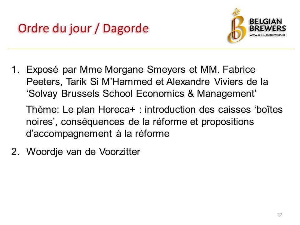 Ordre du jour / Dagorde 22 1.Exposé par Mme Morgane Smeyers et MM. Fabrice Peeters, Tarik Si M'Hammed et Alexandre Viviers de la 'Solvay Brussels Scho