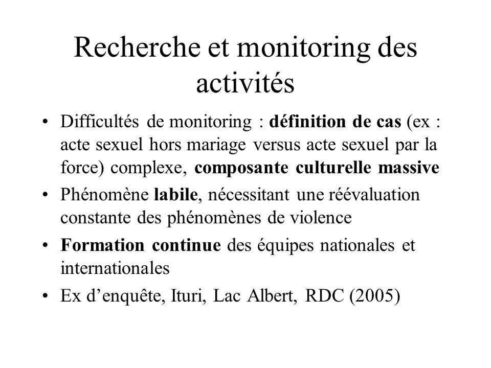 Recherche et monitoring des activités Difficultés de monitoring : définition de cas (ex : acte sexuel hors mariage versus acte sexuel par la force) co