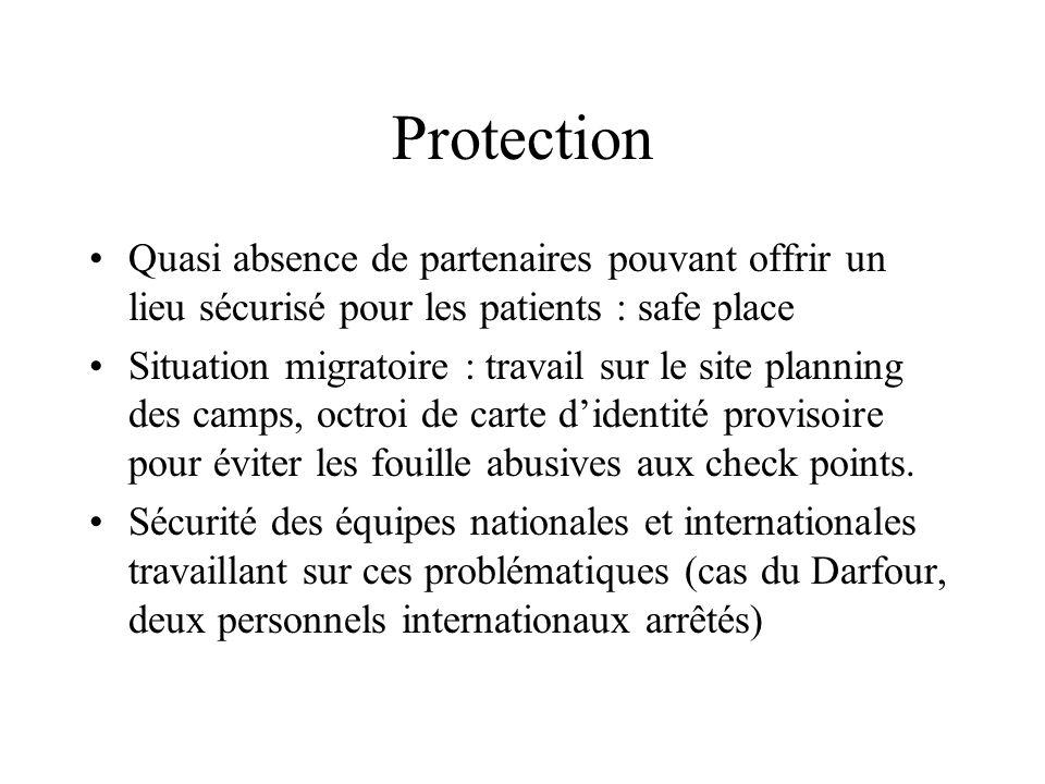Protection Quasi absence de partenaires pouvant offrir un lieu sécurisé pour les patients : safe place Situation migratoire : travail sur le site plan