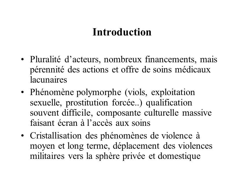 Introduction Pluralité d'acteurs, nombreux financements, mais pérennité des actions et offre de soins médicaux lacunaires Phénomène polymorphe (viols,