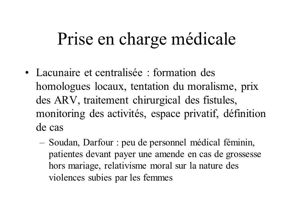 Prise en charge médicale Lacunaire et centralisée : formation des homologues locaux, tentation du moralisme, prix des ARV, traitement chirurgical des