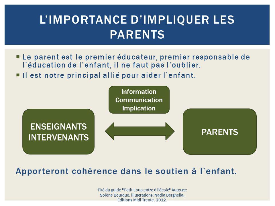  Le parent est le premier éducateur, premier responsable de l'éducation de l'enfant, il ne faut pas l'oublier.