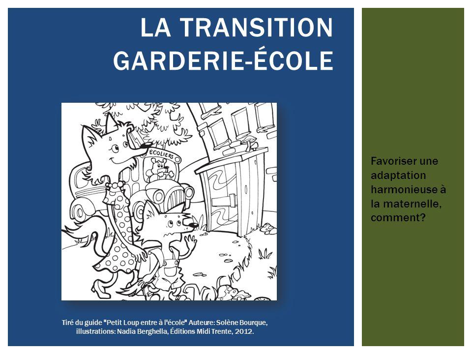 Tiré du guide Petit Loup entre à l école Auteure: Solène Bourque, illustrations: Nadia Berghella, Éditions Midi Trente, 2012.