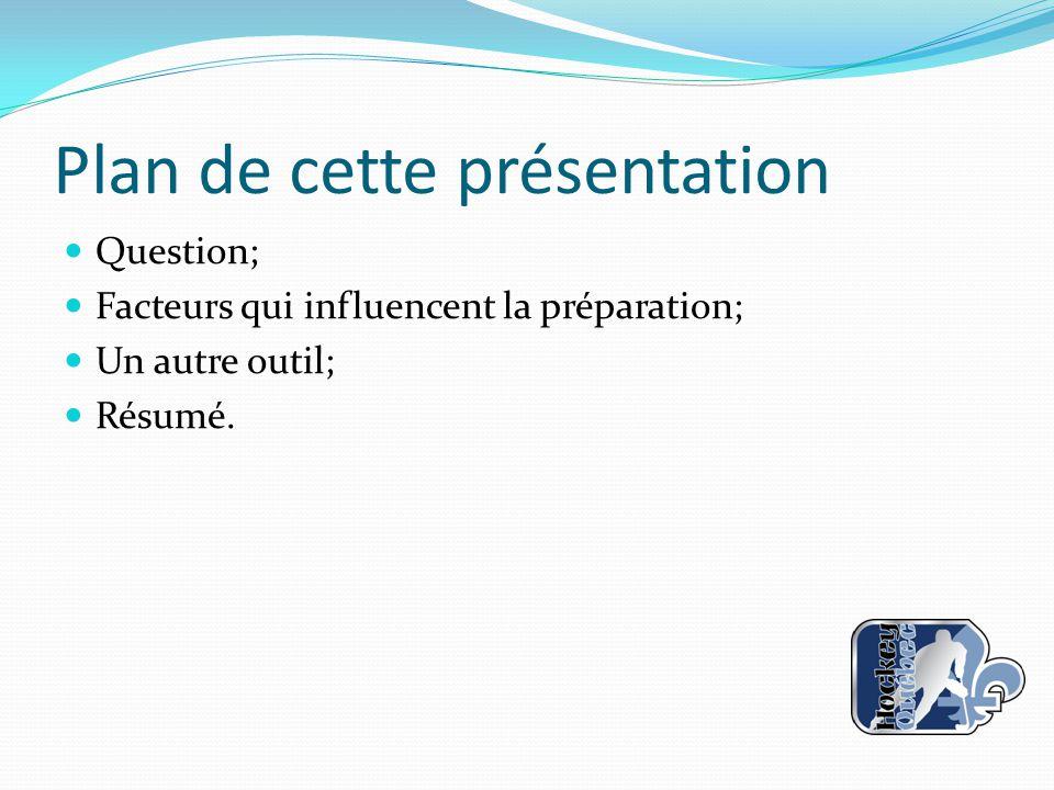 Plan de cette présentation Question; Facteurs qui influencent la préparation; Un autre outil; Résumé.