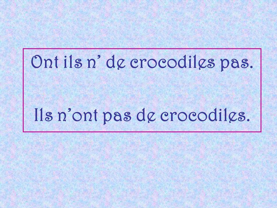 Ont ils n' de crocodiles pas. Ils n'ont pas de crocodiles.