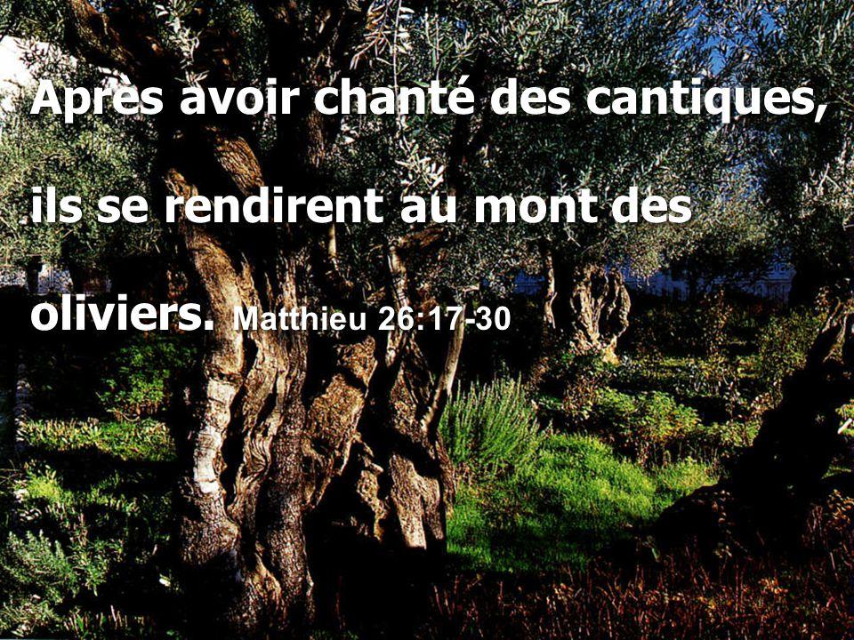 Après avoir chanté des cantiques, ils se rendirent au mont des oliviers. Matthieu 26:17-30 Après avoir chanté des cantiques, ils se rendirent au mont