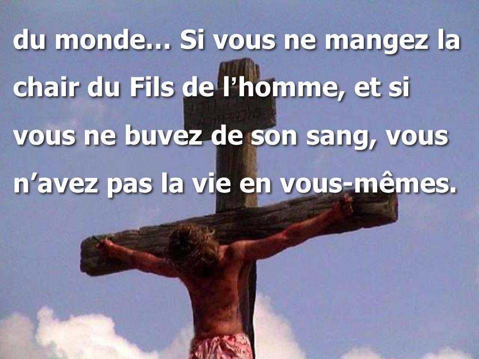 du monde… Si vous ne mangez la chair du Fils de l ' homme, et si vous ne buvez de son sang, vous n'avez pas la vie en vous-mêmes. du monde… Si vous ne