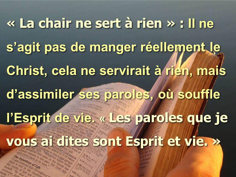 « La chair ne sert à rien » : Il ne s'agit pas de manger réellement le Christ, cela ne servirait à rien, mais d'assimiler ses paroles, où souffle l'Es