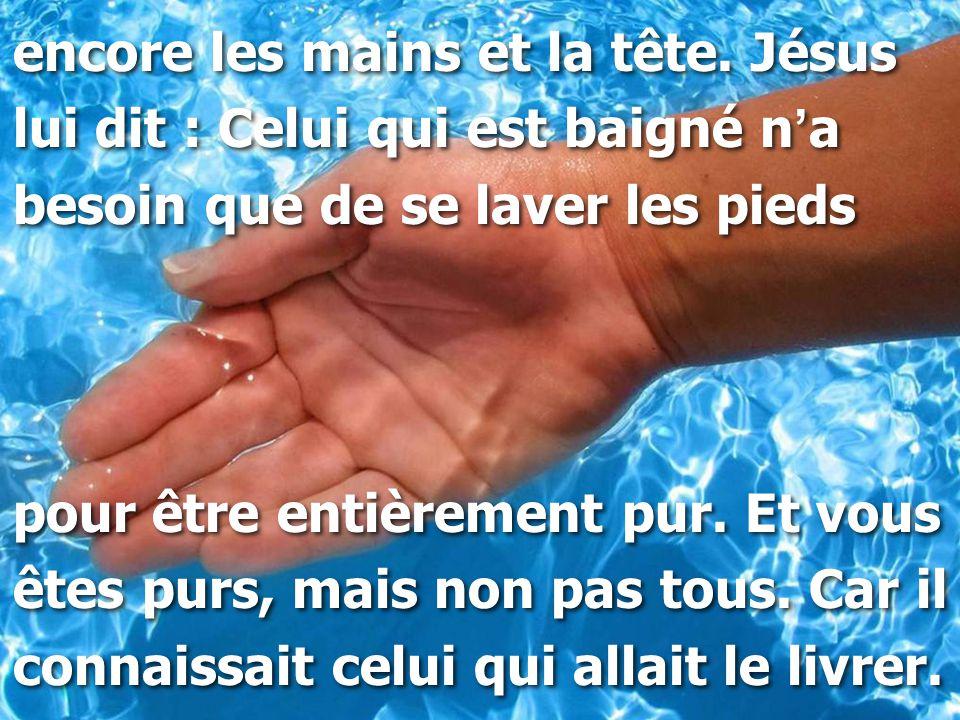 encore les mains et la tête. Jésus lui dit : Celui qui est baigné n ' a besoin que de se laver les pieds pour être entièrement pur. Et vous êtes purs,