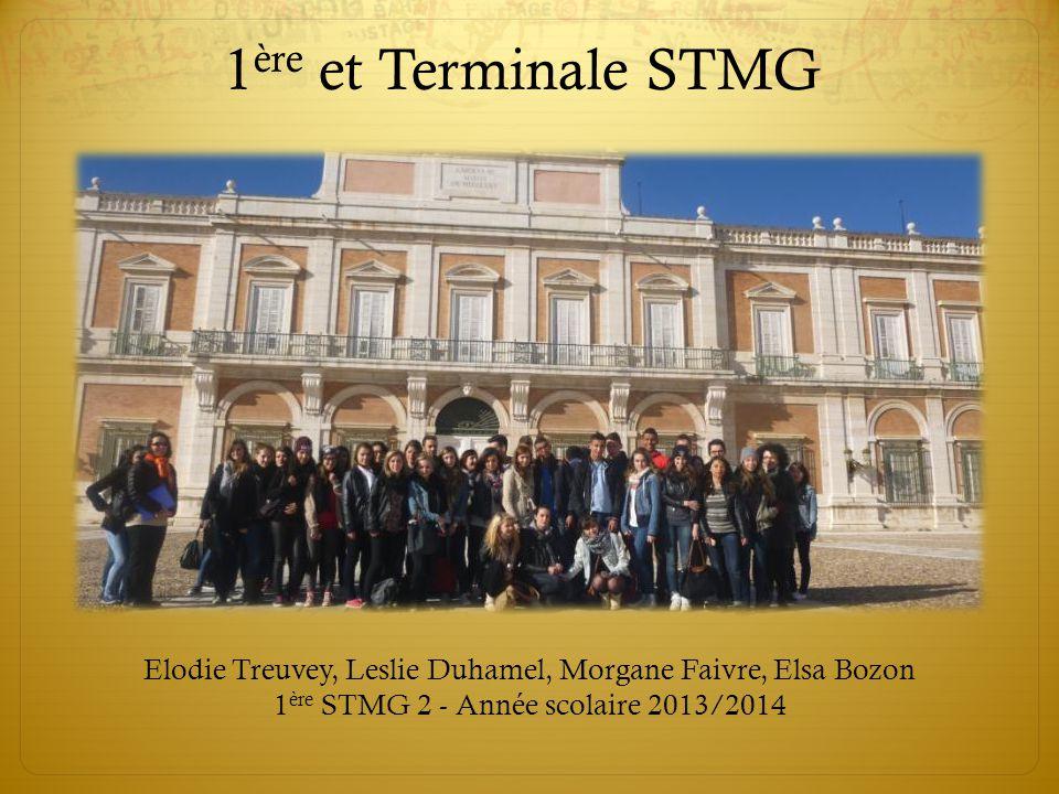 Elodie Treuvey, Leslie Duhamel, Morgane Faivre, Elsa Bozon 1 ère STMG 2 - Année scolaire 2013/2014 1 ère et Terminale STMG