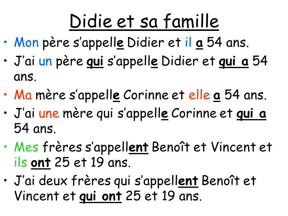 Didie et sa famille Mon père s'appelle Didier et il a 54 ans. J'ai un père qui s'appelle Didier et qui a 54 ans. Ma mère s'appelle Corinne et elle a 5