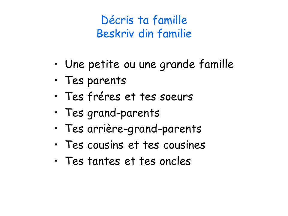 Décris ta famille Beskriv din familie Une petite ou une grande famille Tes parents Tes fréres et tes soeurs Tes grand-parents Tes arrière-grand-parent