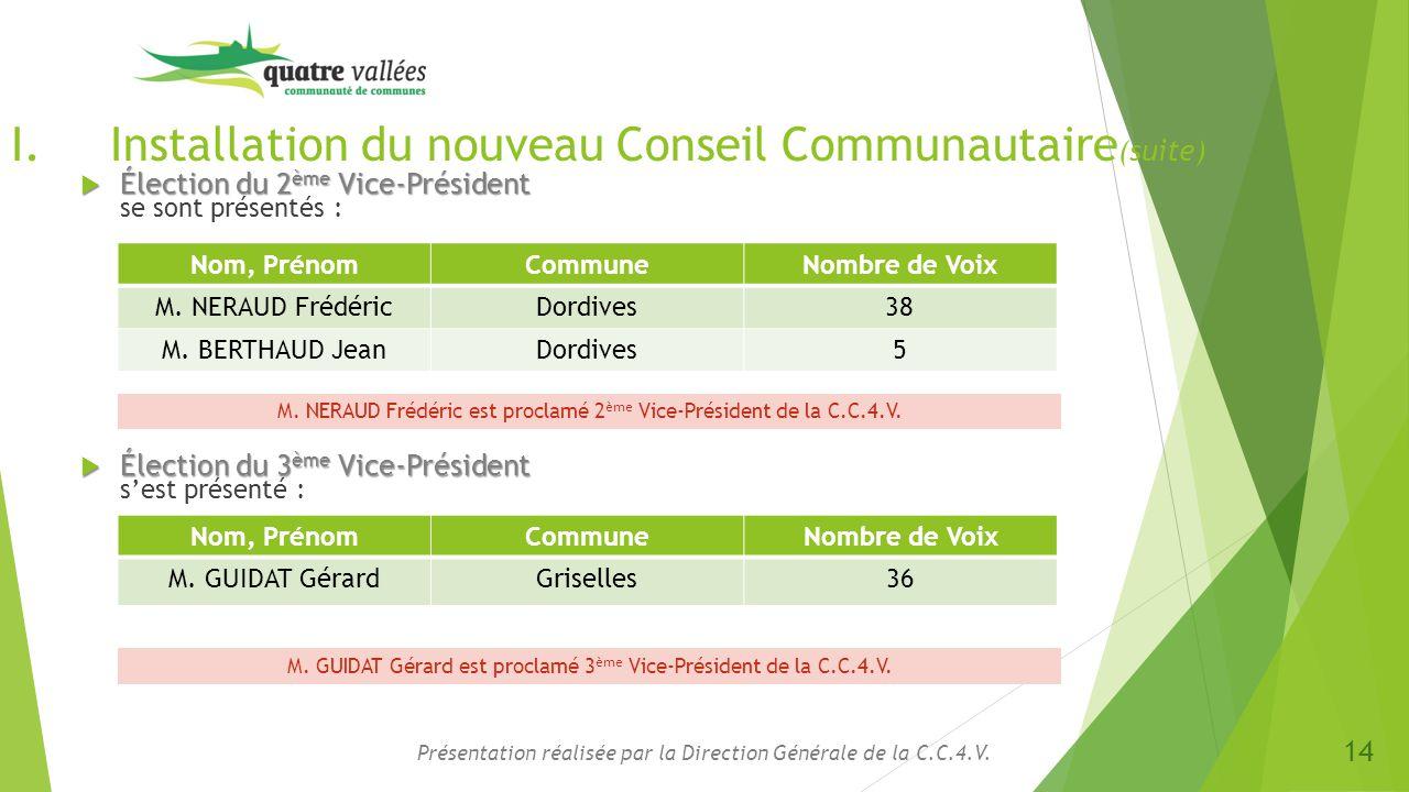 I.Installation du nouveau Conseil Communautaire (suite)  Élection du 2 ème Vice-Président  Élection du 2 ème Vice-Président se sont présentés : Prés