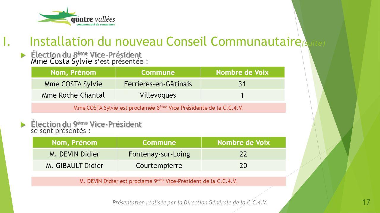 I.Installation du nouveau Conseil Communautaire (suite)  Élection du 8 ème Vice-Président  Élection du 8 ème Vice-Président Mme Costa Sylvie s'est p