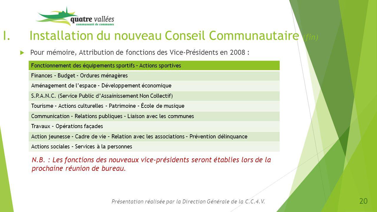 I.Installation du nouveau Conseil Communautaire (fin)  Pour mémoire, Attribution de fonctions des Vice-Présidents en 2008 : Présentation réalisée par