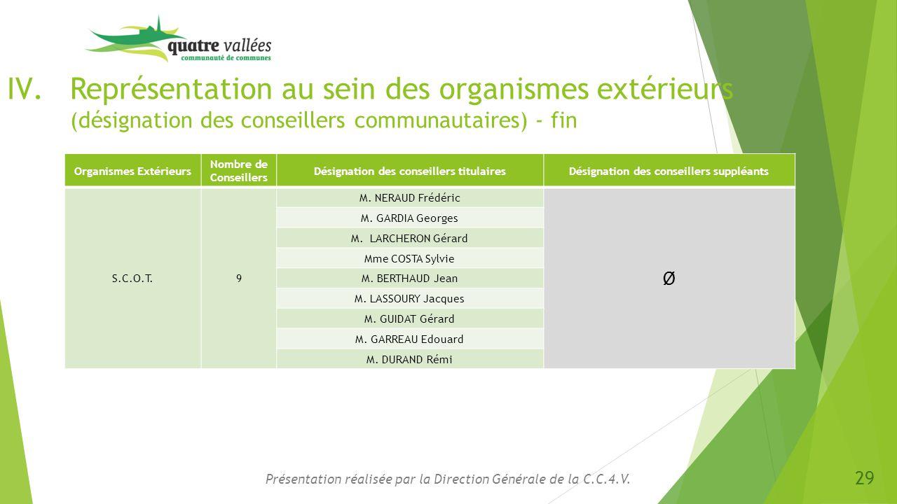 IV.Représentation au sein des organismes extérieurs (désignation des conseillers communautaires) - fin Présentation réalisée par la Direction Générale