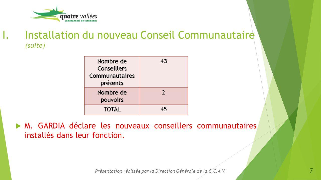 Présentation réalisée par la Direction Générale de la C.C.4.V. I.Installation du nouveau Conseil Communautaire (suite)  M. GARDIA déclare les nouveau