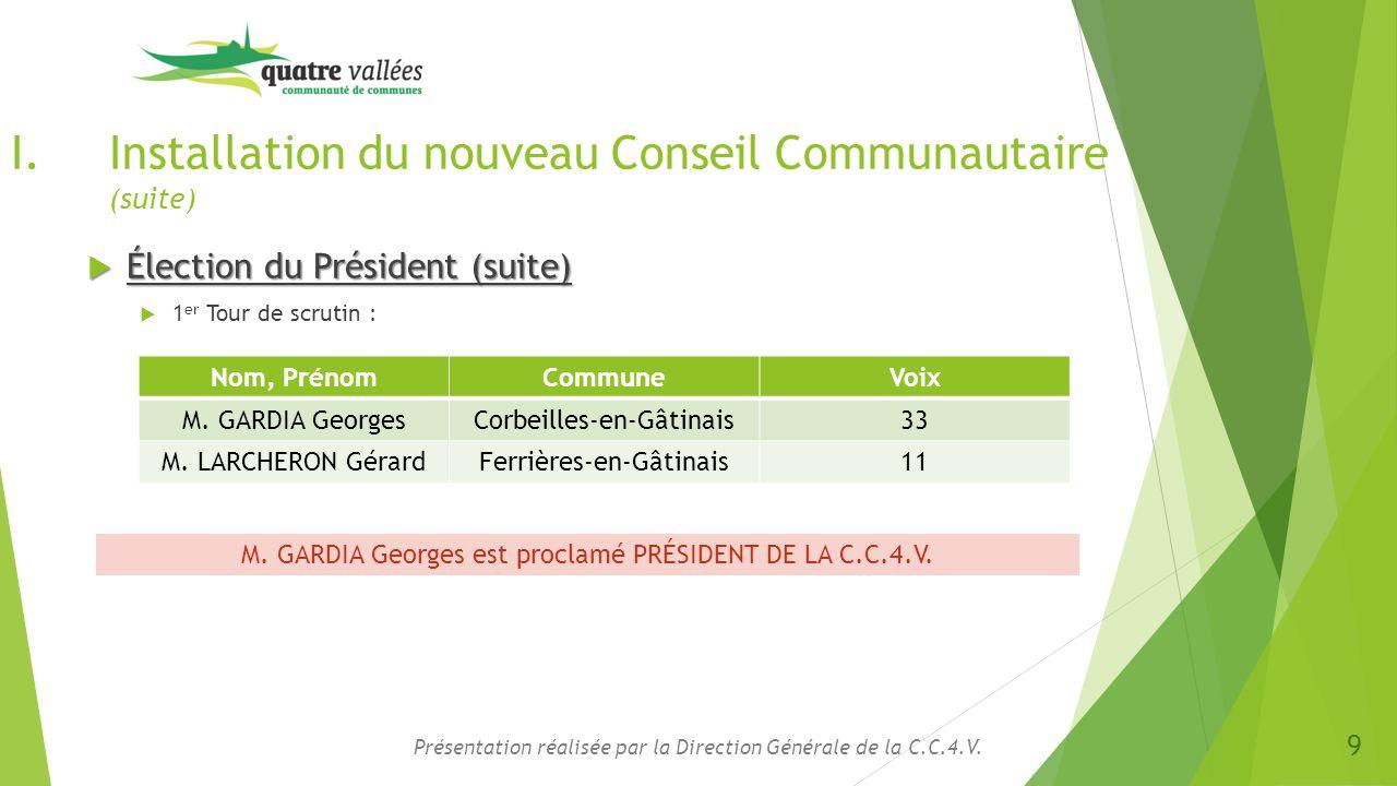 I.Installation du nouveau Conseil Communautaire (suite)  Élection du Président (suite)  1 er Tour de scrutin : Présentation réalisée par la Directio