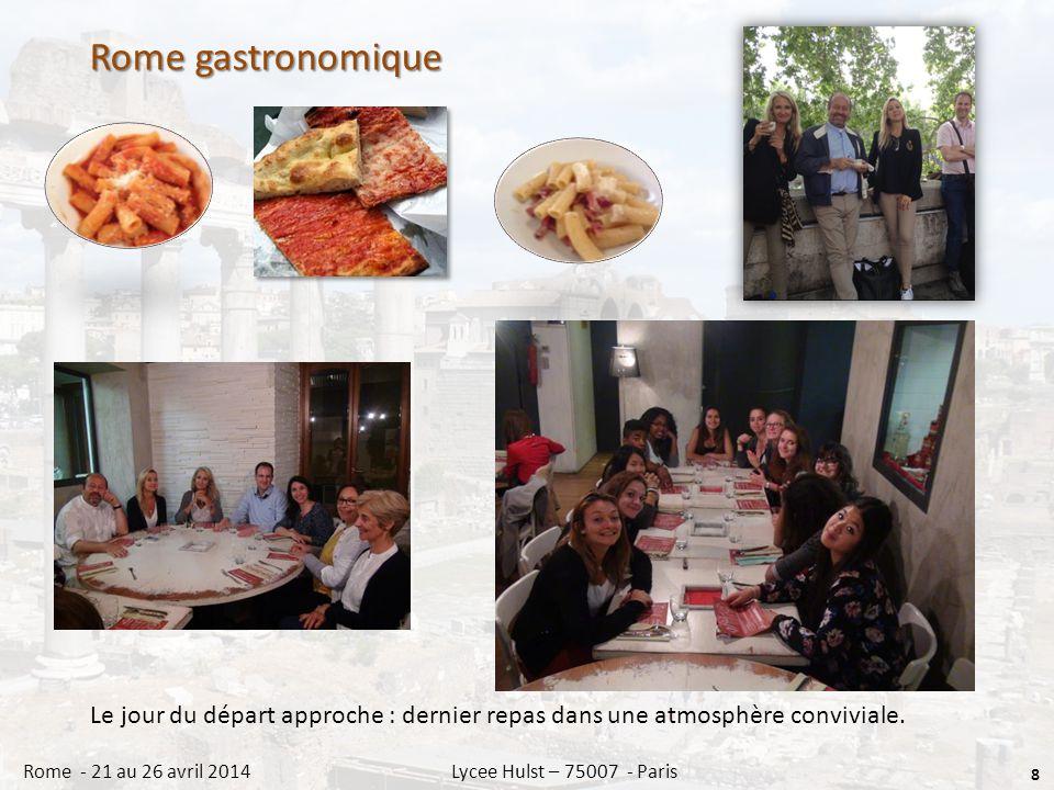 Rome gastronomique 8 Rome - 21 au 26 avril 2014 Lycee Hulst – 75007 - Paris Le jour du départ approche : dernier repas dans une atmosphère conviviale.