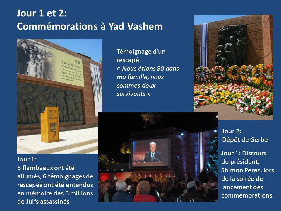 Jour 1 et 2: Commémorations à Yad Vashem Témoignage d'un rescapé: « Nous étions 80 dans ma famille, nous sommes deux survivants » Jour 2: Dépôt de Ger