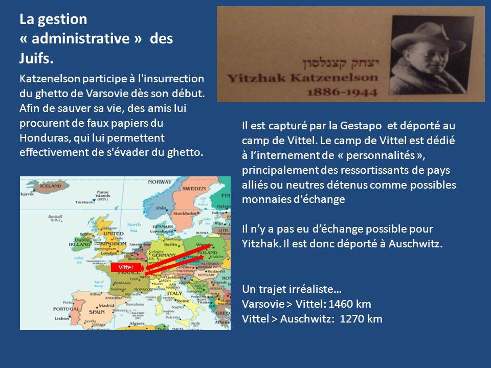 La gestion « administrative » des Juifs. Katzenelson participe à l'insurrection du ghetto de Varsovie dès son début. Afin de sauver sa vie, des amis l