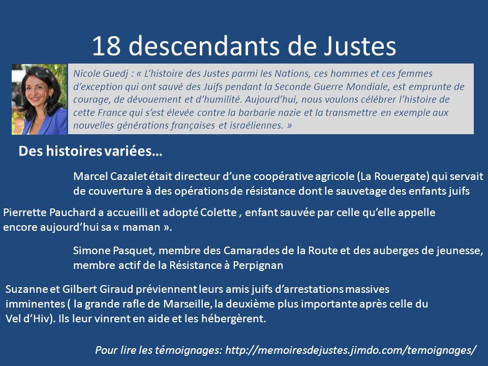 18 descendants de Justes Des histoires variées… Nicole Guedj : « L'histoire des Justes parmi les Nations, ces hommes et ces femmes d'exception qui ont
