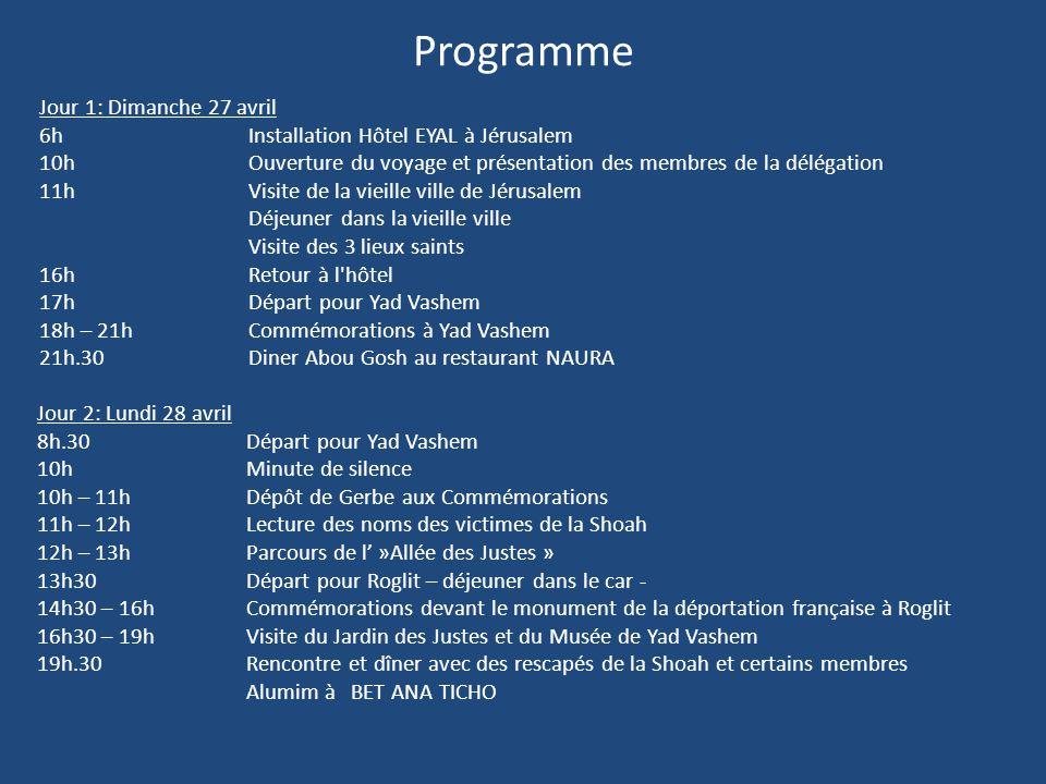 Programme Jour 1: Dimanche 27 avril 6hInstallation Hôtel EYAL à Jérusalem 10hOuverture du voyage et présentation des membres de la délégation 11hVisit