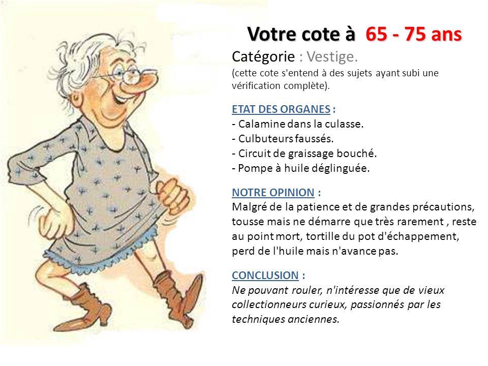 Votre cote à 55 - 65 ans Catégorie : Poids Lourd fatigué.