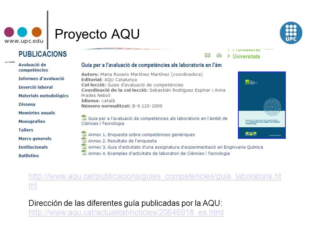Proyecto AQU http://www.aqu.cat/publicacions/guies_competencies/guia_laboratoris.ht ml Dirección de las diferentes guía publicadas por la AQU: http://