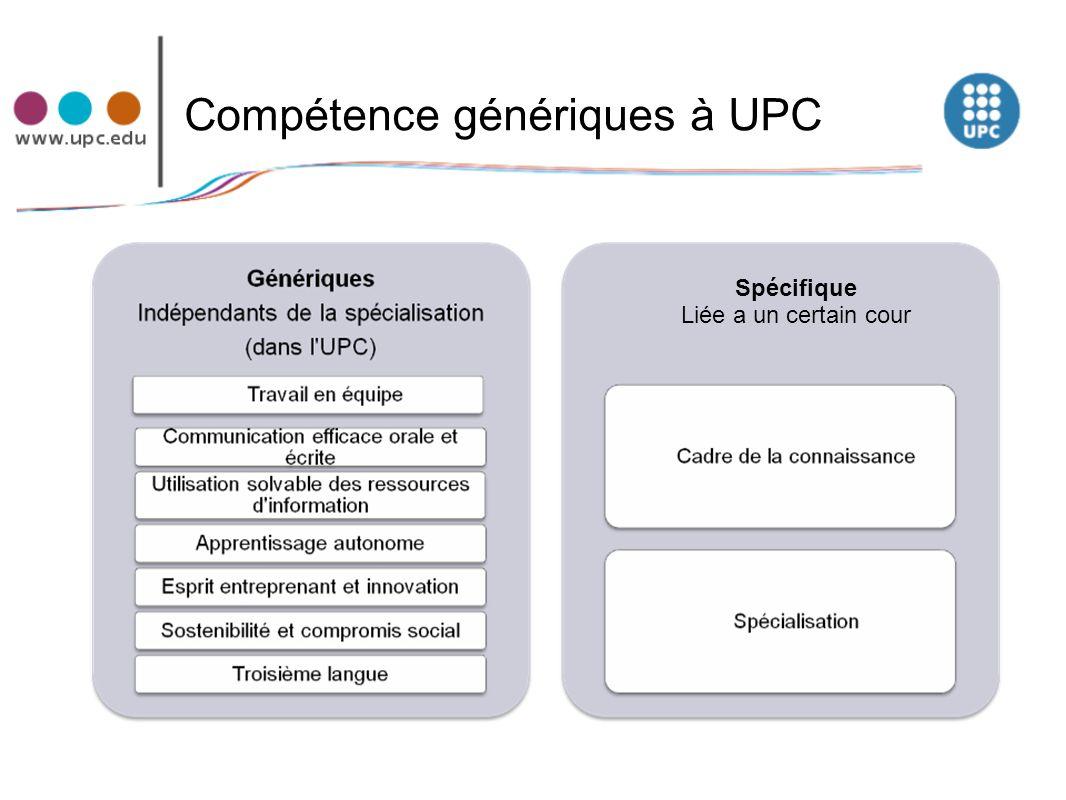 Compétence génériques à UPC Spécifique Liée a un certain cour
